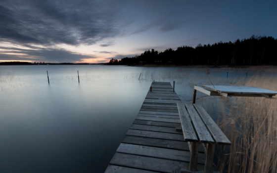 мост, trees, wooden, берег, озеро, sweden, лес, море, вечер, небо,