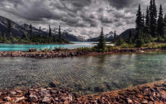 горы, пейзажи -, озеро, красивые, тучи, landscape, water, фотографий, очень, река, осень,