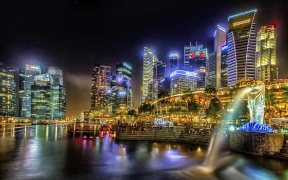 город, singapore, города, дома, здания, фотографий, заставки, вечер, бесплатные, картинка,