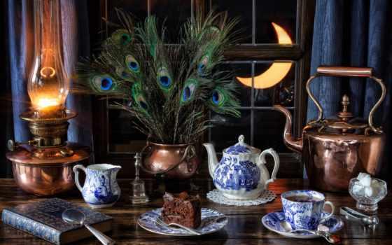 натюрморт, чая, лампа, чайник, перья, cup, луна, кружка, диета, павлиньи, окно,
