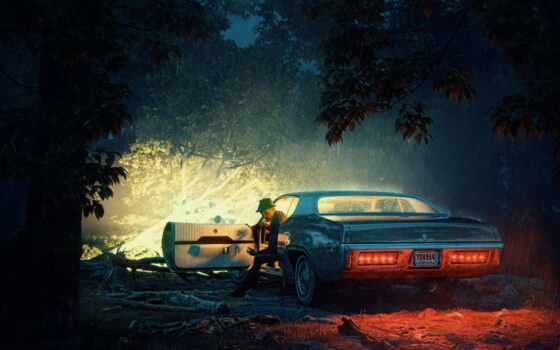,машина, ночь, лес, свет,