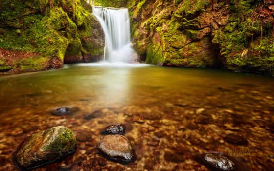 фея, природа, стена, land, art, пульт, водопад, руб, гора, germanii