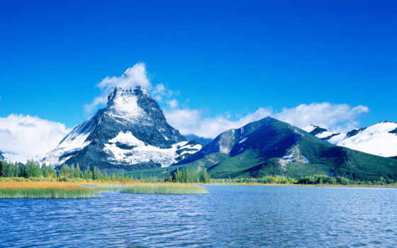горы, небо, озеро