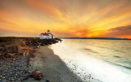 закат, берег, море