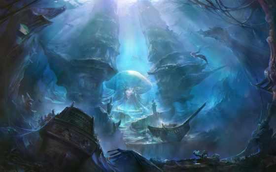 art, world, underwater, rong, под, водой, корабли, rongrong, wang,