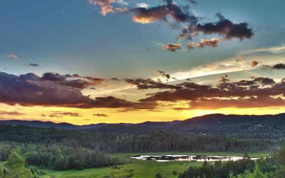 небо, просторы, закат, озеро, горы, oblaka, dell, ди, оранжевый, serenity, безмолвие,