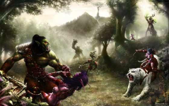 war, elfy, fantasy, орки, warsong,