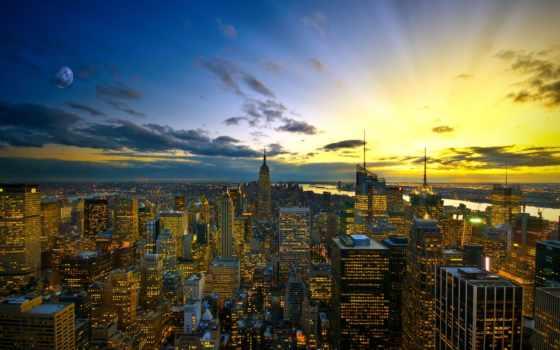 new, york, город, города, огни, подробнее, городов, небо, вечер,