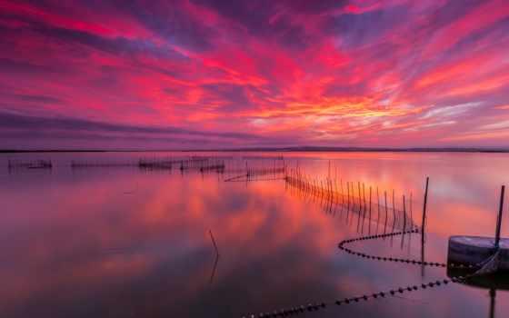 słońca, red, zachód, море, morzem, над,