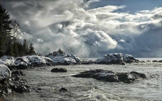 природа, гренландия, небо, озеро, eastern, swimming, назад, море, смотреть, return