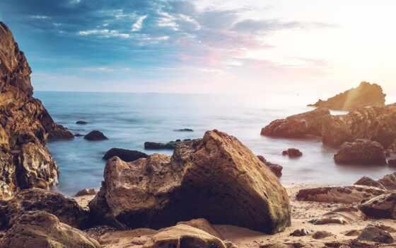 пляж, rock, восход, природа, небо, ipad, фон, фото, awesome, огромный