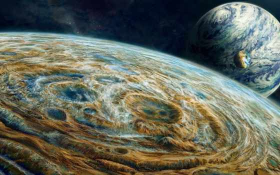 космос, art, планеты, бесконечный, звезды, три, широкоформатные,