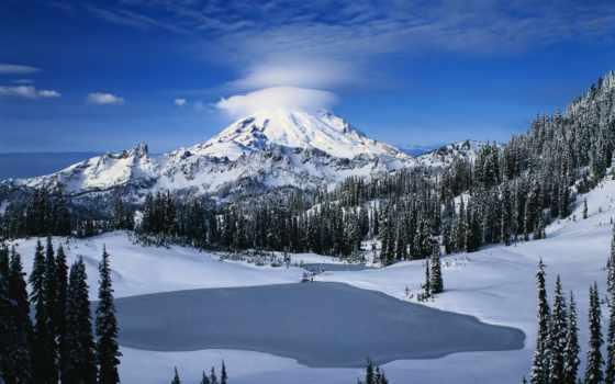 горы, гуамка, дня, winter, снежные, горах, озера, красивые, рубрики, картинка,