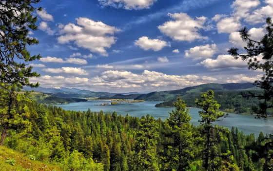 озеро, alene, coeur, idaho, clouds, лес, trees, об,