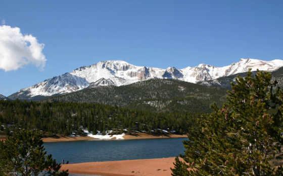 горы, река, цветы, снежные, широкоформатные, природа, hill, подножия, pikes, peak,