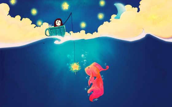 рисунок, fish, рисунки, рыбалка, девушка, cup, star, art, spoon,