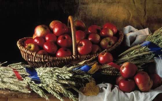 яблоки, натюрморт, корзина, плетёная, красные, телефон,