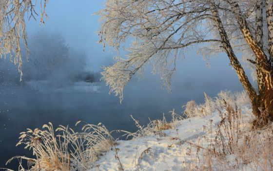 hiver, fond, paysage, ecran, fonds, neige, природа, soleil,