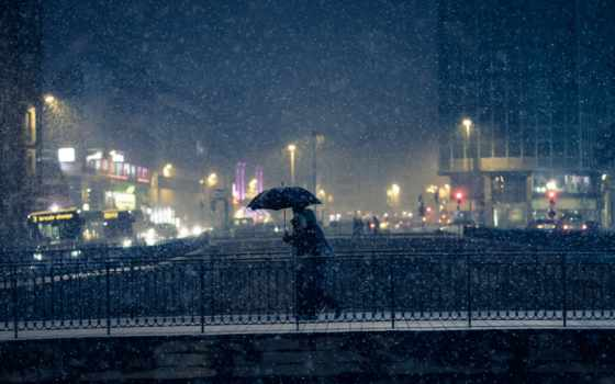 город, париж, снег, winter, мост, ночь, building, cityscape, люди,