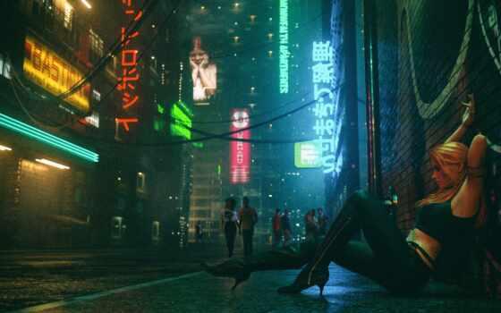 club, девушка, neon, фон, музыка, лицо, улица, ночь, cyber, synth, cyberpunk