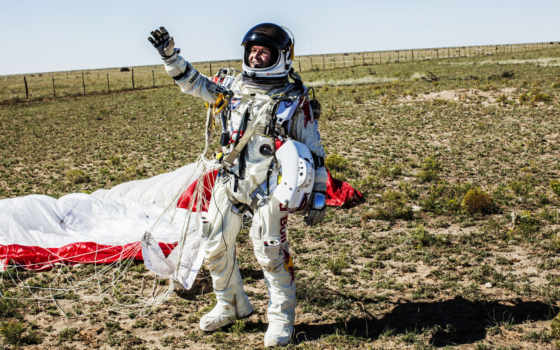 red, baumgartner, felix, bull, stratos, полет, космос, salto, спортсмен, приземление,