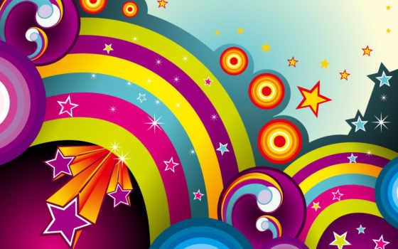 линии, радуги, абстракция, круги, звезды, desktop, vector, wall, ipad,