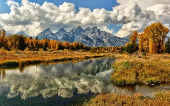 осень, горы, река, прекрасными, природы, уголками, картинка, природа, magic,