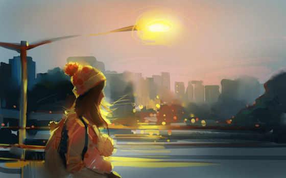 девушка, идёт, lantern, река, рюкзак, за, ветер, шапка, февр, девушке,