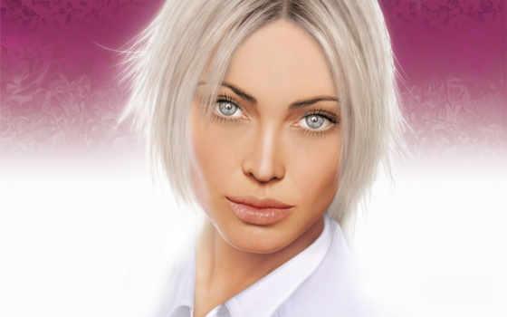 blonde, взгляд, макияж, глазами, серыми, блондинок, свет, portrait, девушка, голубыми,