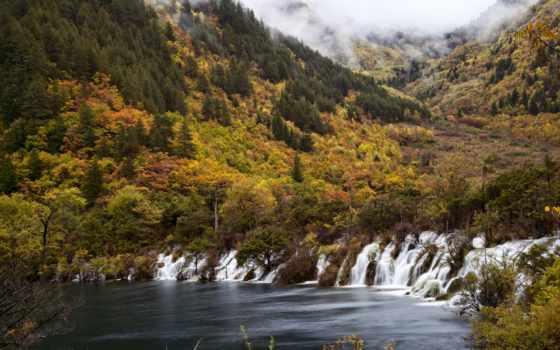 китаянка, природа, горы, falls, дракон, водопад, jiuzhaigou, цзючжайгоу, park, туман, national,