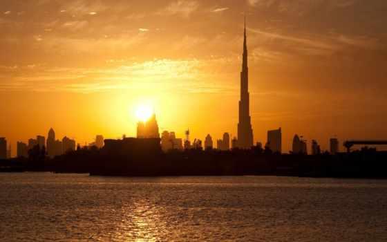 dubai, дома, небоскребы, закат, бурдж, башни, оаэ, халифа, здания,