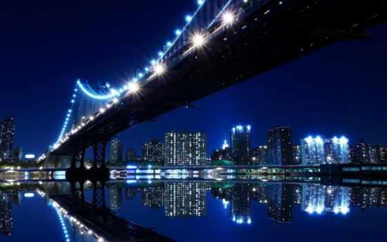 нью, york, фотообои, ночь, стену, йорка, город, купить,