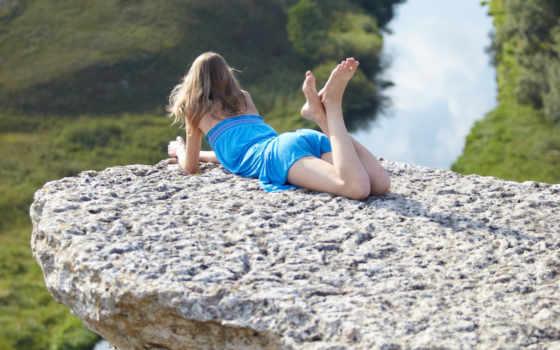 девушка, река, лежит, уступ, veda, картинка,