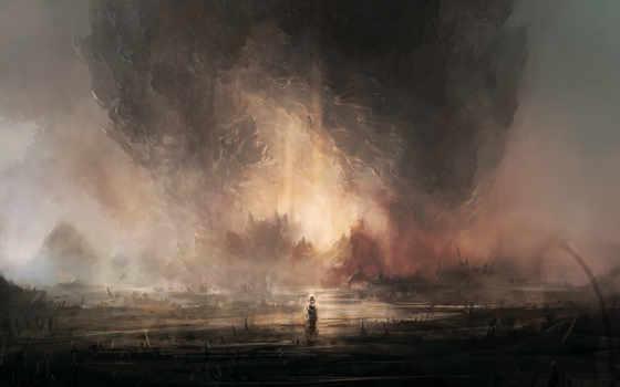 человек, фигура, туман