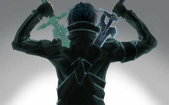 online, art, sword, меча, кирито, мастера, два, sao, Мастера меча,