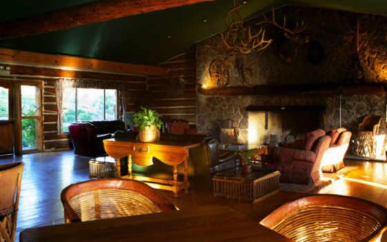 interer, каминь, гостиная, кресло, диван, комната, стулья, ковер, февр,