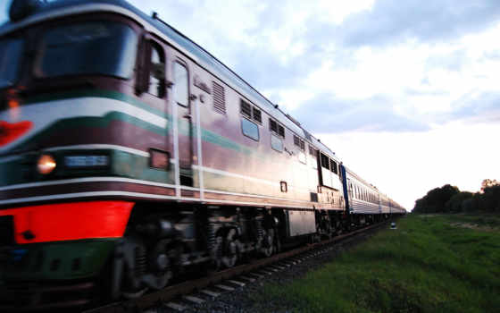 поезд, поезда, высоком