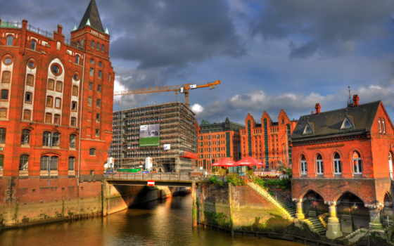 город, german, hamburg, река, дек, crane, construction, здания, дорога, speicherstadt, garden,
