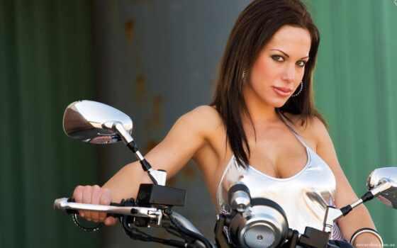 девушка, лицо, женщина, black, поза, sit, мото, молодой, stand, мотоцикл, осень