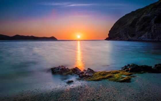 гора, море, закат, остров, palawan, песок, surf, starve, небо