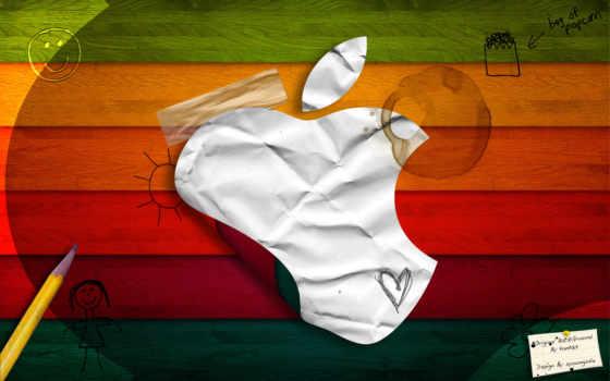 бумажный apple на детском фоне