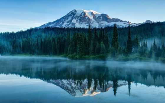 штат, рейнир, маунт, вашингтон, национальный, park, парке, сша, национальном, вид, national, glacier,