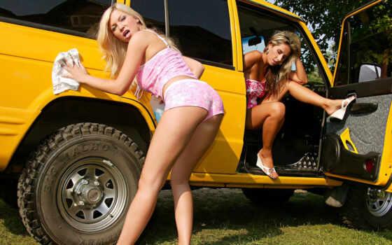 devushki, моют, приколы, авто, машину, машины, красивых,