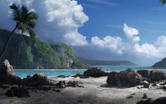 море, горы, palm