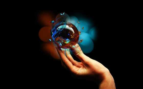 бабочки, мяч, рука, графика, бабочка, руке, glass, банка,