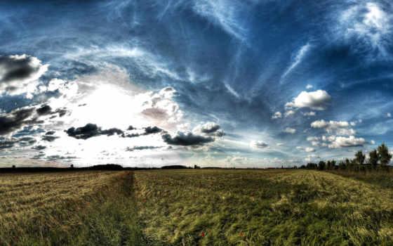 небо, поле, oblaka
