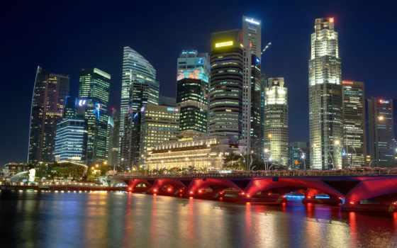 singapore, ночь, город, bay, марина, пульт, sands, река, hotel,