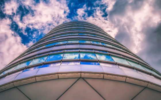 здание, окна, небо, высотка,