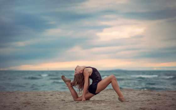 fonds, ecran, plage, море, grace, sur, gymnastique, alyssa,