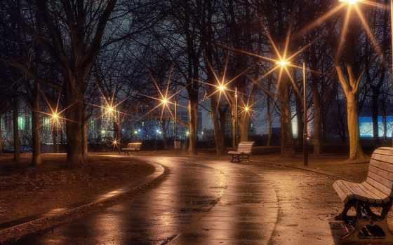 фонари, вечер, park, аллея, скамейка,